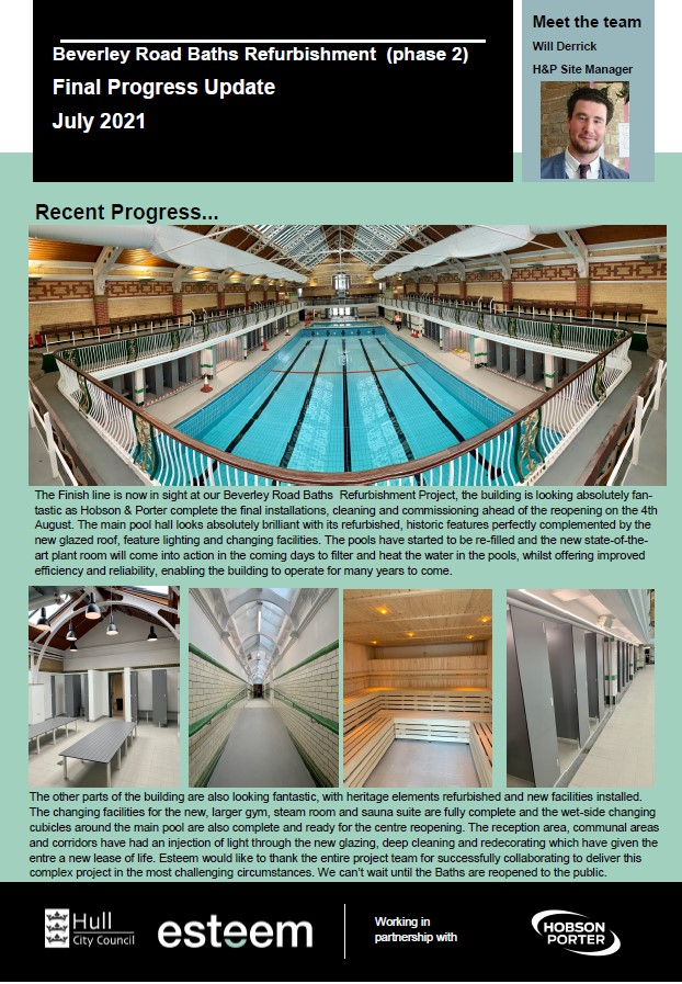 Beverley Road Baths Progress Update July 2021