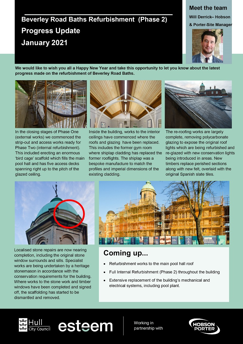 January 2021 update on Beverley Road Baths refurbishment