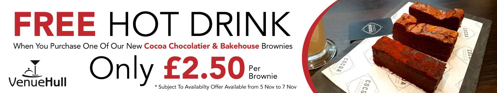 Free hot drink with brownie at the Ferens Art Gallery Cafe