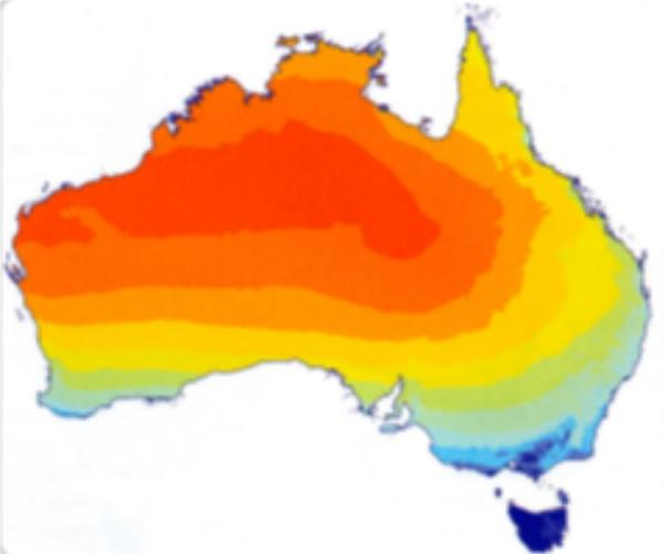 Thermal map of Australia