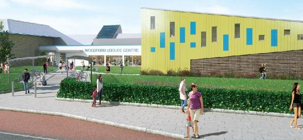 Picture showing the frontage of the new Woodford Leisure Centre