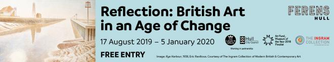 Website banner advertising the Reflection British Art in an Age of Change Exhibition at the Ferens Art Gallery